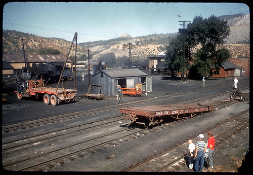 D&amp;RGW #493 K-37 in Durango yard with Twin Peak in background.<br /> D&amp;RGW  Durango, CO