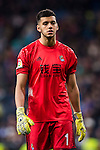 Goalkeeper Geronimo Rulli of Real Sociedad reacts during their La Liga match between Real Madrid and Real Sociedad at the Santiago Bernabeu Stadium on 29 January 2017 in Madrid, Spain. Photo by Diego Gonzalez Souto / Power Sport Images