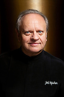 Joël Robuchon, chef and and restaurateur, poses for the photographer in the entrance lobby of Odyssey in the Hotel Metropole, Monte Carlo, Monaco, 22 May 2013. Joël holds a record number of 28 Michelin stars across his restaurants worldwide.