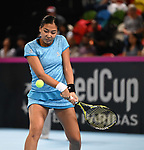 Zarins Diyas (Kazakhstan). Rubber 1. World group II play off in the BNP Paribas Fed Cup. Copper Box arena. Queen Elizabeth Olympic Park. Stratford. London. UK. 20/04/2019. ~ MANDATORY Credit Garry Bowden/Sportinpictures - NO UNAUTHORISED USE - 07837 394578