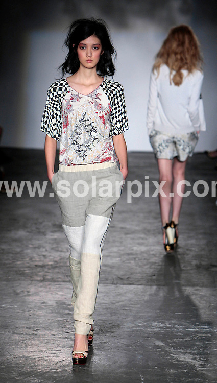 **ALL ROUND PICTURES FROM SOLARPIX.COM**                                             **NO UK NEWSPAPER PUBLICATION**.**UK MAGAZINE & SUPPLEMENT PUBLICATION ONLY** AND NO PUBLICATION IN AUSTRALIA, BELGIUM, FRANCE, GERMANY, ITALY, SCANDINAVIA AND USA**                                                                                London Fashion Week.Clements Ribeiro catwalk show at Westfield Stratford City this weekend..2011                                                                      .This pic: Models                                                                                        .JOB REF:13974       SFE      DATE:   18.09.11                                                         **MUST CREDIT SOLARPIX.COM OR DOUBLE FEE WILL BE CHARGED**                                                                      **MUST AGREE FEE BEFORE ONLINE USAGE**                               **CALL US ON: +34 952 811 768 or LOW RATE FROM UK 0844 617 7637**