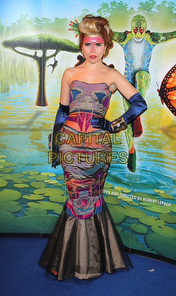 Paloma Faith (wearing Alex Noble).'Cirque Du Soleil: Totem' UK Premiere, Royal Albert Hall, London, England..5th January 2012.full length strapless mermaid gown dress electric-blue velvet gloves black grey gray pink orange print hand on hip fishtail bangles bracelets paint headband make-up.CAP/ROS.©Steve Ross/Capital Pictures