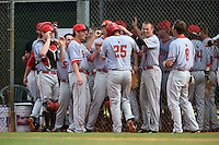 Ball State Cardinals Jarett Rindfleisch (25) congratulated by teammates after scoring a run during a game against the Dartmouth Big Green on March 7, 2015 at North Charlotte Regional Park in Port Charlotte, Florida.  Ball State defeated Dartmouth 7-4.  (Mike Janes/Four Seam Images)