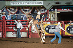 Justin Browning on U3 of SY during first round of the Fort Worth Stockyards Pro Rodeo event in Fort Worth, TX - 8.2.2019 Photo by Christopher Thompson