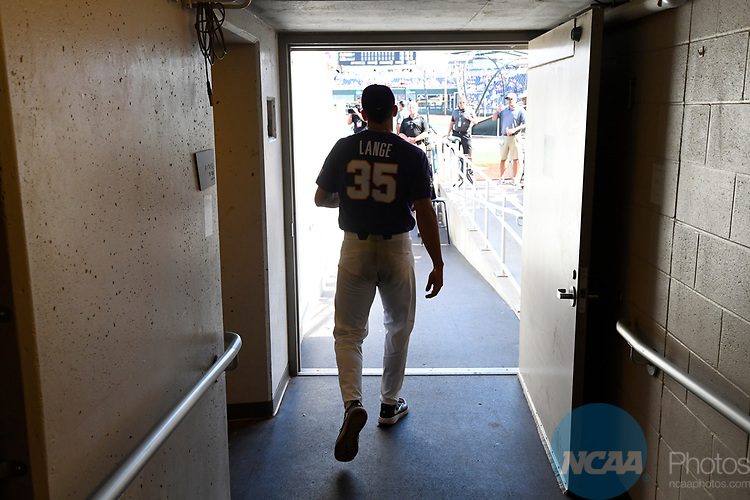 OMAHA, NE - JUNE 26: Alex Lange (35) of Louisiana State University walks onto the field as his team takes on the University of Florida during the Division I Men's Baseball Championship held at TD Ameritrade Park on June 26, 2017 in Omaha, Nebraska. The University of Florida defeated Louisiana State University 4-3 in game one of the best of three series. (Photo by Jamie Schwaberow/NCAA Photos via Getty Images)