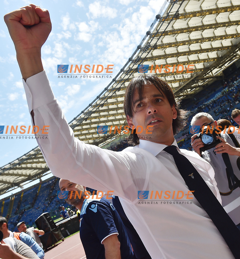 Esultanza Simone Inzaghi celebration at the end of the match. Lazio won 1-3 <br /> Roma 30-04-2017 Stadio Olimpico Football Calcio Serie A 2016/2017 AS Roma - Lazio Foto Andrea Staccioli / Insidefoto