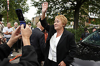 September 10, 2012 - Montreal (Quebec) CANADA -  new Quebec Premier Pauline Marois and her husband attend the <br /> Funerals of Denis Blanchette, the victim of Richard Bain on the Quebec Election night september 4th at Metropolis. He was shot while trying to stop Bain from entering the building during  Marois speech.<br /> <br /> <br /> FRENCH CAPTION BELOW :  La Premiere Ministre du Quebec Pauline Marois et son mari aux<br /> FunÈrailles civiques de Denis Blanchette le 10 septembre 2012 ‡ l'Èglise Saint-Donat, dans l'arrondissement de Mercier-Hochelaga-Maisonneuve.<br /> Blanchette a ete tue par Richard Bain lors de la soiree des Èlection le 4 septembre au Metropolis, en empechant le tireur d'entrer dans la salle durant le discours de la nouvelle Premiere Ministre du Quebec Pauline Marois.