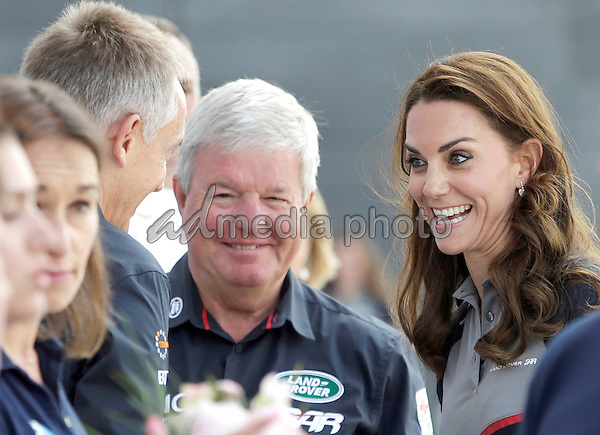 24 July 2016 - Princess Kate Duchess of Cambridge and Prince William Duke of Cambridge with Keith Mills and Martin Whitmarsh at the America's Cup World Series Race in Portsmouth. The royal couple visited the home of the British competitors for the America's Cup before observing the ongoing competition. Photo Credit: ALPR/AdMedia