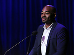 Brandon Victor Dixon on stage during the Vineyard Theatre Gala 2018 honoring Michael Mayer at the Edison Ballroom on May 14, 2018 in New York City.