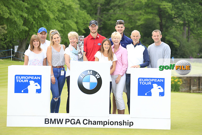 Chris Wood (ENG) winner with some of the marshals  after the final round of the 2016 BMW PGA Championship. Wentworth Golf Club, Virginia Water, Surrey, UK. 29/05/2016.<br /> Picture Fran Caffrey / Golffile.ie<br /> <br /> All photo usage must carry mandatory copyright credit (&copy; Golffile | Fran Caffrey)