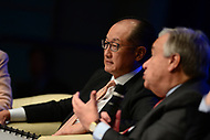 "Washington, DC - April 21, 2017:  World Bank President Jim Yong Kim listens as U.N. Secretary General Antonio Guterres speaks during the""Financing for Peace"" panel discussion during the annual Spring Meetings of the IMF/World Bank Group at the IMF headquarters in the District of Columbia April 21, 2017.  (Photo by Don Baxter/Media Images International)"