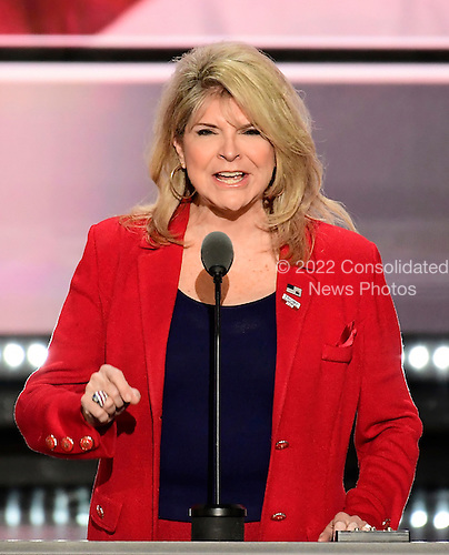 Sharon Day, Co-Chair, Republican National Committee, makes remarks at the 2016 Republican National Convention held at the Quicken Loans Arena in Cleveland, Ohio on Tuesday, July 19, 2016.<br /> Credit: Ron Sachs / CNP<br /> (RESTRICTION: NO New York or New Jersey Newspapers or newspapers within a 75 mile radius of New York City)