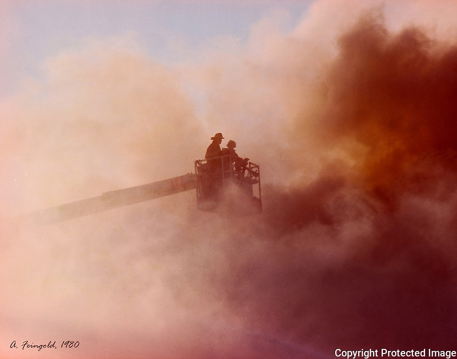 Portland Firemen on Fire Truck Ladder, Firemen Engulfed with Smoke, Firemen Rescue<br />
