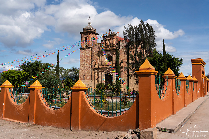 The 16th Century stone Church of San Marcos Tlapazola in the pueblo of San Marcos Tlapazola, in the Central Valleys of Oaxaca, Mexico.