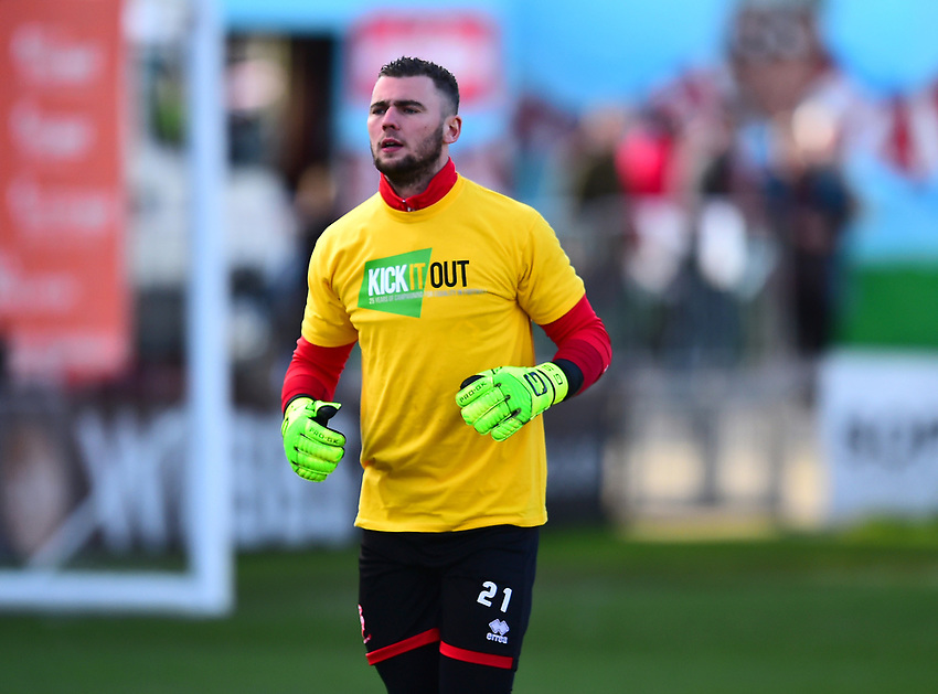 Lincoln City's Grant Smith during the pre-match warm-up<br /> <br /> Photographer Andrew Vaughan/CameraSport<br /> <br /> The EFL Sky Bet League Two - Lincoln City v Northampton Town - Saturday 9th February 2019 - Sincil Bank - Lincoln<br /> <br /> World Copyright © 2019 CameraSport. All rights reserved. 43 Linden Ave. Countesthorpe. Leicester. England. LE8 5PG - Tel: +44 (0) 116 277 4147 - admin@camerasport.com - www.camerasport.com
