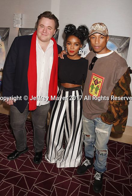 WEST HOLLYWOOD, CA - JANUARY 04: (L-R) Composer Benjamin Wallfisch, actress/singer Janelle Monae and singer-songwriter/record producer Pharrell Williams attend a screening and Q&A for 20th Century Fox's 'Hidden Figures' at The London West Hollywood on January 4, 2017 in West Hollywood, California.