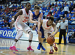 February 20, 2016 - Colorado Springs, Colorado, U.S. -   Lobos and Falcon players battle for a loose ball during an NCAA basketball game between the University of New Mexico Lobos and the Air Force Academy Falcons at Clune Arena, United States Air Force Academy, Colorado Springs, Colorado.  Air Force defeats New Mexico 76-72.