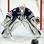 30 November 2009: Yale University Bulldog goaltender Jeff Malcolm, a Freshman from Lethbridge, Alberta, in action against the University of Vermont Catamounts at Gutterson Fieldhouse in Burlington, Vermont. Malcolm stopped 26 of 27 shots in his second collegiate start as the Catamounts shut out the Bulldogs 1-0 in a rematch of last season's first round of the NCAA post-season playoff Tournament. Mandatory Credit: Ed Wolfstein Photo