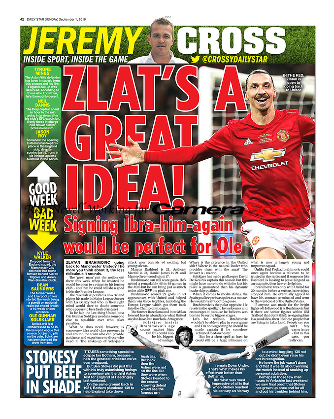 Daily Star Sunday - 01-September-2019 - 'ZLAT'S A GREAT IDEA!'- Photo by Rob Newell (Camersport via Getty Images)