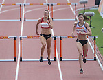 Wales Caryl Granville in action during the Woman's 400m Hurdles - Heat 2  <br /> <br /> *This image must be credited to Ian Cook Sportingwales and can only be used in conjunction with this event only*<br /> <br /> 21st Commonwealth Games  -  Day 6 - 10<br /> \04\2018 - Carrara Stadium - Gold Coast City - Australia