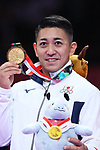 Ryo Kiyuna (JPN), <br /> AUGUST 25, 2018 - Karate : <br /> Men's Individual Kata Medal Ceremony <br /> at Jakarta Convention Center Plenary Hall <br /> during the 2018 Jakarta Palembang Asian Games <br /> in Jakarta, Indonesia. <br /> (Photo by Naoki Nishimura/AFLO SPORT)