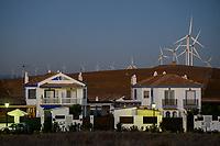 Spain, Andalusia, Cadiz, Zahara de los Atunes, wind farm in the mountains