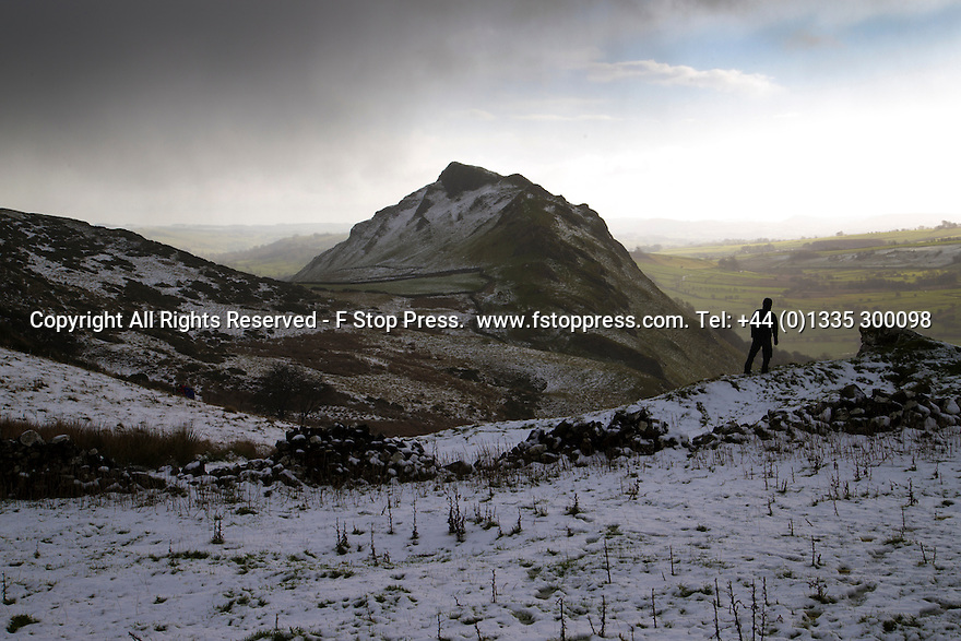 08/12/14<br /> <br /> Snow lies on Chrome Hill, in the Derbyshire Peak District, overlooking the Manifold Valley below.<br /> <br /> ***ANY UK EDITORIAL PRINT USE WILL ATTRACT A MINIMUM FEE OF £130. THIS IS STRICTLY A MINIMUM. USUAL SPACE-RATES WILL APPLY TO IMAGES THAT WOULD NORMALLY ATTRACT A HIGHER FEE . PRICE FOR WEB USE WILL BE NEGOTIATED SEPARATELY***<br /> <br /> <br /> All Rights Reserved - F Stop Press. www.fstoppress.com. Tel: +44 (0)1335 300098