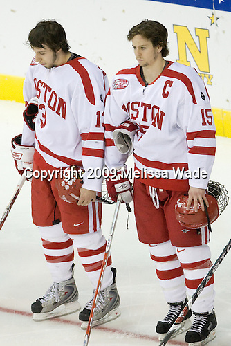 Nick Bonino (BU - 13), John McCarthy (BU - 15) - The Boston University Terriers defeated the Miami University RedHawks 4-3 in overtime to win the 2009 NCAA D1 National Championship at the Frozen Four on Saturday, April 11, 2009, at the Verizon Center in Washington, DC.