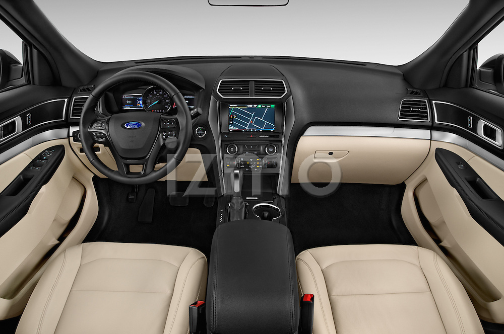 Stock photo of straight dashboard view of a 2016 Ford Explorer XLT 4 Door SUV Dashboard
