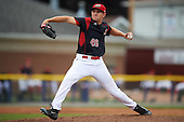 Batavia Muckdogs relief pitcher Dylan Lee (46) during a game against the West Virginia Black Bears on August 21, 2016 at Dwyer Stadium in Batavia, New York.  West Virginia defeated Batavia 6-5. (Mike Janes/Four Seam Images)