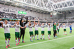 Stockholm 2015-04-25 Fotboll Allsvenskan Hammarby IF - &Aring;tvidabergs FF :  <br /> Hammarbys spelare Stefan Batan , Jan Gunnar Solli , Fredrik Torsteinb&ouml; Torsteinb&oslash; , Kennedy Bakircioglu och Mats Solheim jublar framf&ouml;r Hammarbys supportrar efter matchen mellan Hammarby IF och &Aring;tvidabergs FF <br /> (Foto: Kenta J&ouml;nsson) Nyckelord:  Fotboll Allsvenskan Tele2 Arena Hammarby HIF Bajen &Aring;tvidaberg &Aring;FF jubel gl&auml;dje lycka glad happy