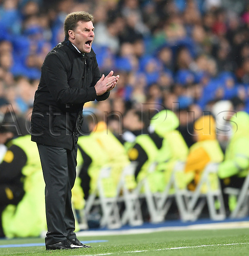 12.04.2016. Madrid, Spain.  Wolfsburg's coach Dieter Hecking gestures during the UEFA Champions League quarterfinal second leg  match between Real Madrid and VfL Wolfsburg at the Santiago Bernabeu stadium in Madrid, Spain, 12 April, 2016.