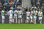 06.10.2019, Borussia-Park - Stadion, Moenchengladbach, GER, DFL, 1. BL, Borussia Moenchengladbach vs. FC Augsburg, DFL regulations prohibit any use of photographs as image sequences and/or quasi-video<br /> <br /> im Bild Alassane Plea (#14, Borussia Moenchengladbach) jubelt nach seinem Tor zum 4:0 mit seiner Mannschaft<br /> <br /> Foto © nordphoto/Mauelshagen