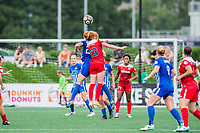 Boston, MA - Saturday July 01, 2017: Morgan Andrews and Tori Huster during a regular season National Women's Soccer League (NWSL) match between the Boston Breakers and the Washington Spirit at Jordan Field.