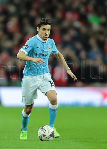 28.02.2016. Wembley Stadium, London, England. Capital One Cup Final. Manchester City versus Liverpool. Manchester City Midfielder Jesús Navas on the ball