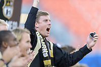Houston, TX - Friday December 11, 2016: A Wake Forest Demon Deacons fan cheers his team on against the Stanford Cardinal at the NCAA Men's Soccer Finals at BBVA Compass Stadium in Houston Texas.