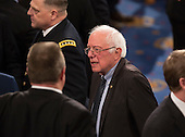 United States Senator Bernie Sanders (Independent of Vermont) awaits the arrival of U.S. President Donald J. Trump to address a joint session of Congress on Capitol Hill in Washington, DC, February 28, 2017. <br /> Credit: Chris Kleponis / CNP