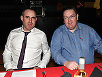 Club Chairperson Damien Johnson and County Board Assistant Treasurer Declan Byrne pictured at St. Kevin's GAA awards night in Philipstown. Photo:Colin Bell/pressphotos.ie