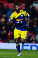 Sunday 05 January 2014<br /> Pictured:Wilfried Bony celebrates his goal <br /> Re: Manchester Utd FC v Swansea City FA cup third round match at Old Trafford, Manchester
