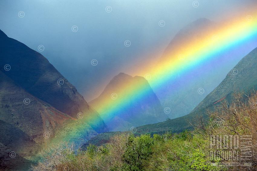 Ukumehame, Maui.  Rainbow with the West Maui Mountains.