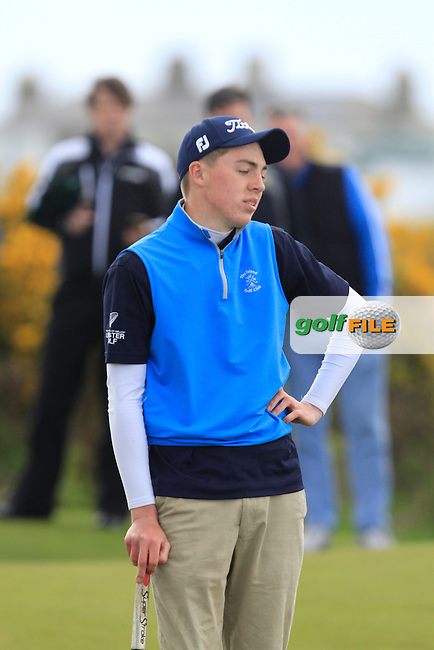 Kevin LeBlanc (The Island) on the 14th green during Round 4 of the Irish Amateur Open Championship at Royal Dublin on Sunday 10th May 2015.<br /> Picture:  Thos Caffrey / www.golffile.ie