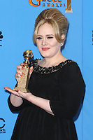 BEVERLY HILLS, CA - JANUARY 13: Adele in the press room at the 70th Annual Golden Globe Awards at the Beverly Hills Hilton Hotel in Beverly Hills, California. January 13, 2013. Credit MediaPunch Inc. /NortePhoto