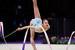 Yuka Ida (JPN), <br /> AUGUST 27, 2018 - Gymnastics - Rhythmic : <br /> Individual All-Around Qualification Ribbon <br /> at JIEX Kemayoran Hall D <br /> during the 2018 Jakarta Palembang Asian Games <br /> in Jakarta, Indonesia. <br /> (Photo by Naoki Morita/AFLO SPORT)