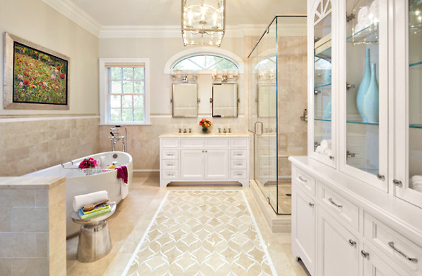 This custom Sophie mosaic floor is shown in Botticino and Thassos and is part of the Silk Road Collection by Sara Baldwin for New Ravenna.<br />
