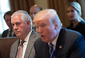 United States Secretary of State Rex Tillerson listens as US President Donald J. Trump speaks to the media during a cabinet meeting at the White House on November 20, 2017 in Washington, D.C. President Trump officially designated North Korea as a state sponsor of terrorism. <br /> Credit: Kevin Dietsch / Pool via CNP
