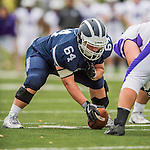 8 October 2016: Middlebury College Panther Offensive Lineman Chris McGuire, a Senior from Basking Ridge, NJ, is set to snap at center during a game against the Amherst College Purple & White at Alumni Stadium in Middlebury, Vermont. The Panthers edged out the Purple & While 27-26. Mandatory Credit: Ed Wolfstein Photo *** RAW (NEF) Image File Available ***