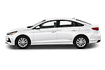Car Driver side profile view of a 2019 Hyundai Sonata SE 4 Door Sedan Side View