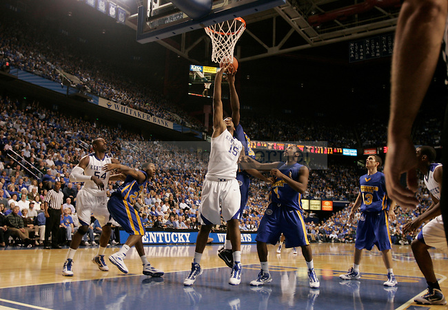 Freshman forward DeMarcus Cousins goes up for a rebound during the second half of UK's win over Morehead state on Nov. 13, 2009 at Rupp Arena in Lexington, Ky...Ed Matthews | Staff