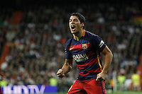 Barcelona´s Luis Suarez celebrates a goal during 2015-16 La Liga match between Real Madrid and Barcelona at Santiago Bernabeu stadium in Madrid, Spain. November 21, 2015. (ALTERPHOTOS/Victor Blanco) /NortePhoto