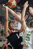 Slovenia's Zoran Dragic (c) and Uros Slokar (r) and USA's Anthony Davis during 2014 FIBA Basketball World Cup Quarter-Finals match.September 9,2014.(ALTERPHOTOS/Acero)